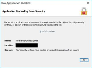 Java Application Bloced pop-up