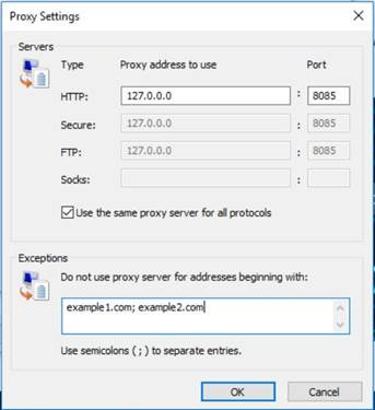 Proxy settings for Local Area Network connection