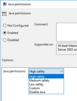 Setting High security Java permissions for Trusted Sites