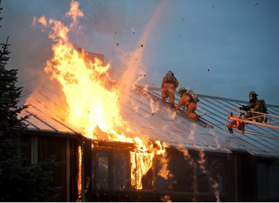 firemen on a roof