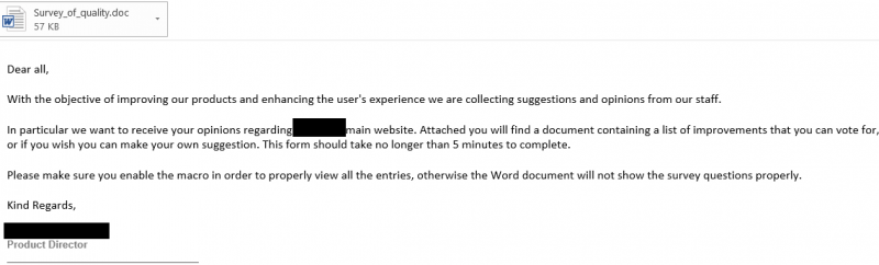 spear-phishing email with macro malware